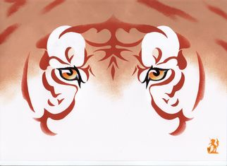 Artist: Hubert Cance - Title: Eyes: Golden Tiger 2 - Medium: Acrylic Painting - Year: 2008