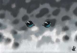 Animals Acrylic Painting by Hubert Cance titled: Eyes: Grey Seal, created in 2004