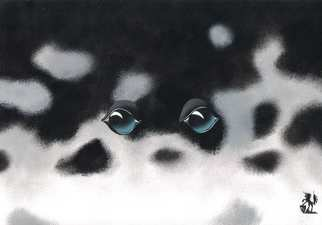Animals Acrylic Painting by Hubert Cance titled: Eyes: Harp Seal, created in 2004