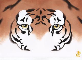 Artist: Hubert Cance - Title: Eyes: Indian Tiger - Medium: Acrylic Painting - Year: 2008