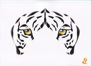 Artist: Hubert Cance - Title: Eyes: Indian White Tiger - Medium: Acrylic Painting - Year: 2008