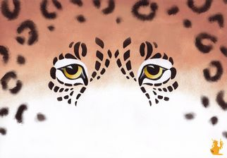 Animals Acrylic Painting by Hubert Cance Title: Eyes: Jaguar, created in 2008