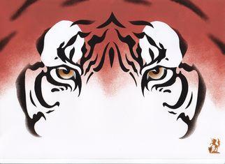 Artist: Hubert Cance - Title: Eyes: Java Tiger - Medium: Acrylic Painting - Year: 2008