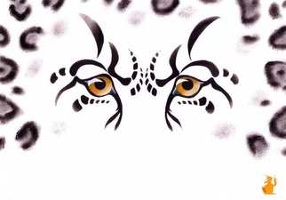 Animals Acrylic Painting by Hubert Cance titled: Eyes: Snow Leopard, created in 2006