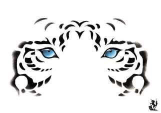 Animals Acrylic Painting by Hubert Cance titled: Eyes: White Tiger, created in 2004