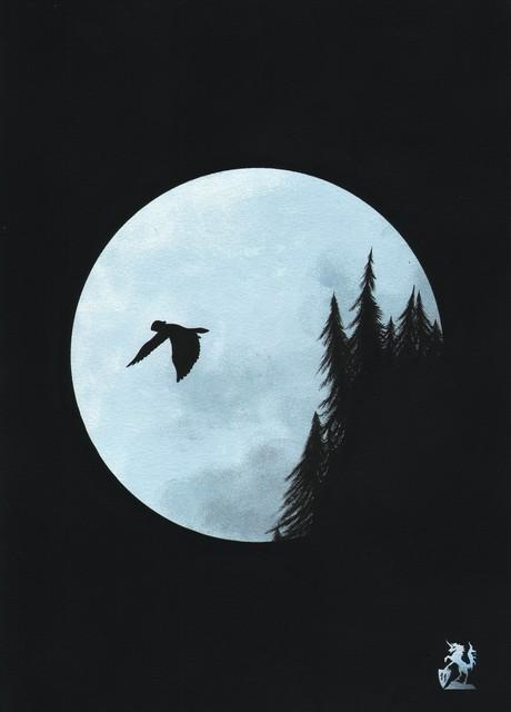 Hubert Cance 'Full Moon: Blue Moon'   Painting Acrylic Artwork