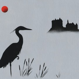 Red Sun: Heron at Val Castle
