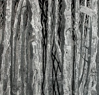 Lijing Liu: 'VIOCE', 2009 Woodcut, Trees. Artist Description: black and White, Natural, LifePS!EcologyPS!BeautifulPS!adornmentPS!Life ...