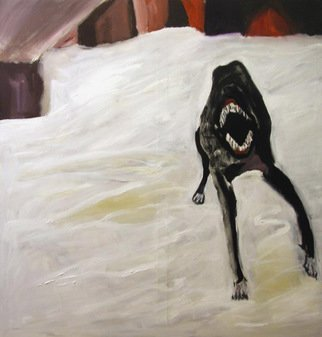 Mert Ulcay: 'prison dog', 2011 Oil Painting, Figurative. A dog that is in the yard of a prison. The inspiration came from an article about the prisons in Siberia, Russia. There was a photo of a dog in snow. This an oil painting on canvas. As a prison is a place of anger and hopelessness this dog shows ...