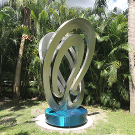 Hunter Brown: 'eternity', 2018 Steel Sculpture, Abstract. Artist Description: 12  modern stainless steel sculpture with sleek brush pattern and aqua blue base. ...