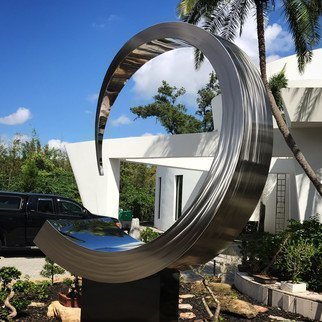 Hunter Brown: 'moon wave', 2021 Steel Sculpture, Abstract. Moon Wave is a contemporary stainless steel sculpture. The circular composition is simple and elegant. ...