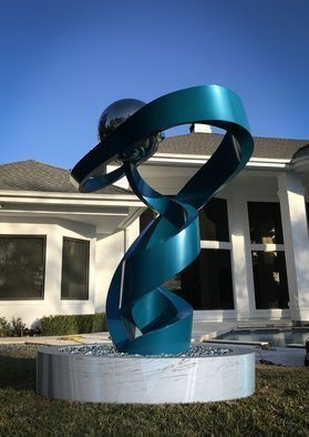 Hunter Brown: 'salute', 2021 Steel Sculpture, Abstract. Salute is a contemporary stainless steel sculpture with a teal powder- coated finish. ...