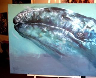 Animals Acrylic Painting by Hyacinthe Kuller-baron Title: BLUE WHALE from ANIMAL NATURE EXHIBIT, created in 2010