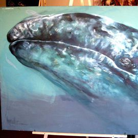 Hyacinthe Kuller-baron Artwork BLUE WHALE from ANIMAL NATURE EXHIBIT, 2010 Acrylic Painting, Animals