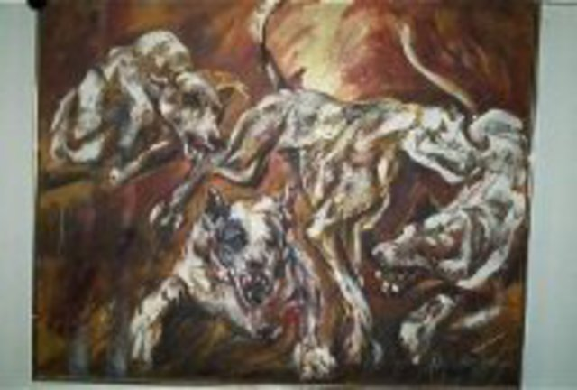 Hyacinthe Kuller-Baron  'DOGS OF WAR', created in 2011, Original Painting Acrylic.