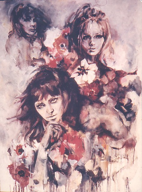 Hyacinthe Kuller-Baron  'Floral With 3 Females', created in 2008, Original Painting Acrylic.