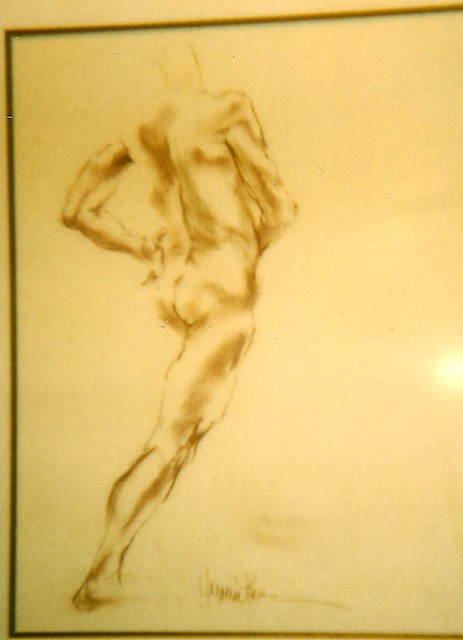 Hyacinthe Kuller-Baron  'Male Nude Drawing', created in 2002, Original Painting Acrylic.