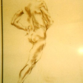 Male Nude Drawing By Hyacinthe Kuller-Baron