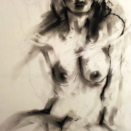 , Seated Nude Edit Charcoal, Nudes, $158