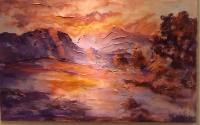Artist Hyacinthe Kuller-Baron. 'Palmspringsarts Inspired Red Sunset' Artwork Image, Created in 2008, Original Painting Acrylic. #art #artist