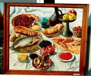Said Ibrahimov: 'Still life Fish ', 2016 Oil Painting, Food.