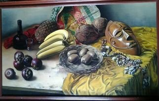 Said Ibrahimov: 'african still life', 1995 Oil Painting, .