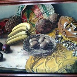 Said Ibrahimov: 'african still life', 1995 Oil Painting, Naturalism.