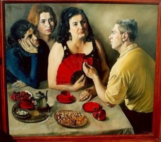 Said Ibrahimov: 'conversation', 1985 Oil Painting, .