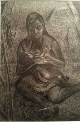 Said Ibrahimov Artwork mother, 1973 Ink Drawing, Naturalism
