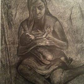 Said Ibrahimov: 'mother', 1973 Ink Drawing, Naturalism. Artist Description: The artwork created by my father Ashraf Ibrahimov. ...