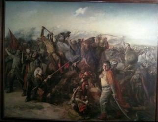 Said Ibrahimov Artwork the battle of chaldiran, 2003 Oil Painting, Naturalism
