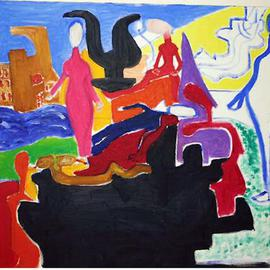 Isaac Brown: 'Switching dangerous lifes', 1996 Oil Painting, Abstract.