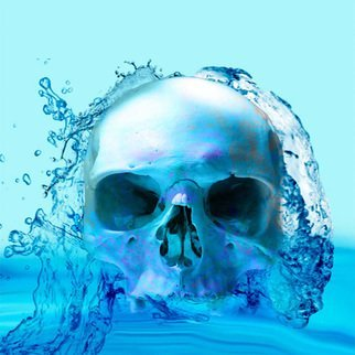 Matthew Lacey: 'skull in water', 2020 Digital Art, Digital. A work of art of a skull in waterabstract, digital, magical, meditation, inspirational, seascape, visionary,peace, mystical, atmosphere, new age, fantasy, skull, love, computer...