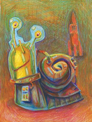 Animals Oil Pastel by Igor Derevenec titled: Snail, created in 2007