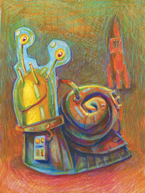 Igor Derevenec  'Snail', created in 2007, Original Pastel Oil.