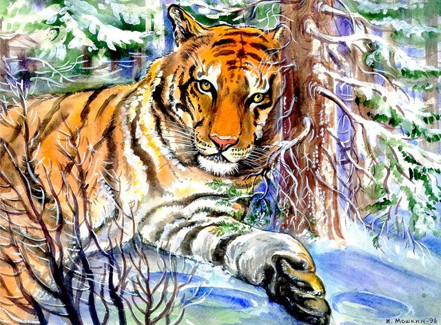 Igor Moshkin  'Tiger In The Winter Forest', created in 2002, Original other.