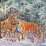 Tigers In The Winter Forest, Igor Moshkin