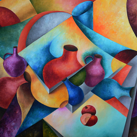 Irina Laskin: 'Still Life 1', 2015 Oil Painting, Still Life. Artist Description:      Fine art, cubism, shapes, jugs,apples, pitchers, contemporary, shadow and lights    ...