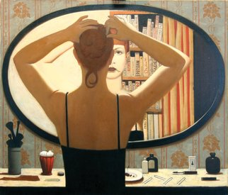 Stanislav Ilin: 'The Mirror', 2000 Oil Painting, People. Artist Description:   Painting, still life, color, fine art, exquisite, individual, creative, beauty,  ...