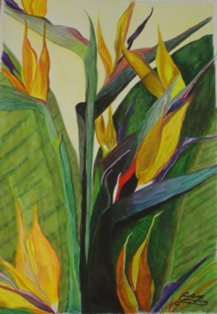 Artist Eve Co. 'Birds Of Paradise' Artwork Image, Created in 1998, Original Painting Oil. #art #artist