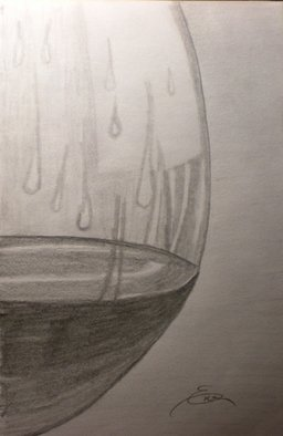 Still Life Pencil Drawing by Eve Co Title: Brandy in a Snifter  Closeup, created in 2009