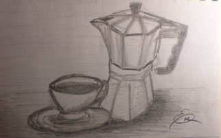 Still Life Pencil Drawing by Eve Co Title: Coffee Time, created in 2009