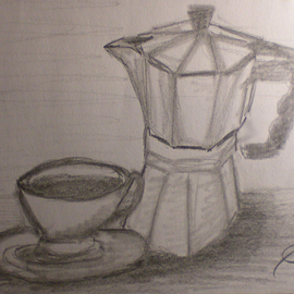 Eve Co Artwork Coffee Time, 2009 Pencil Drawing, Still Life