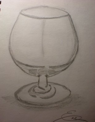Still Life Pencil Drawing by Eve Co Title: Empty Snifter, created in 2009