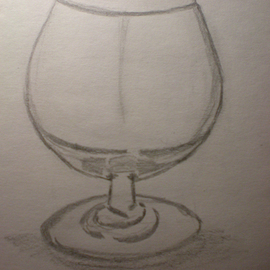 Eve Co Artwork Empty Snifter, 2009 Pencil Drawing, Still Life