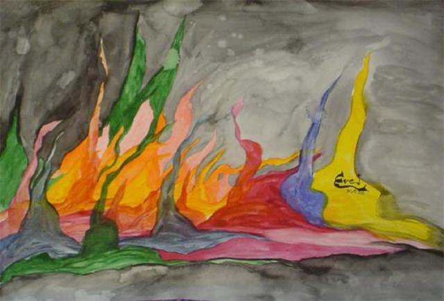 Eve Co  'Fire Meets Water', created in 2003, Original Painting Oil.