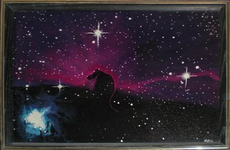 Eve Co: 'Horsehead Nebula', 1989 Acrylic Painting, Astronomy. Please request a commission on this piece - The original was my fathers favorite painting and I can not sell it because its a memory I want to keep with me to touch and feel since my father was taken away from us. . .Horsehead Nebula16 x 20The Horsehead Nebula is ...
