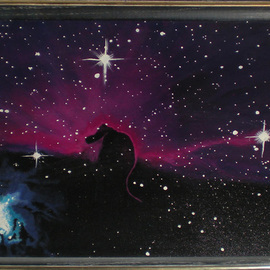 Eve Co: 'Horsehead Nebula', 1989 Acrylic Painting, Astronomy. Artist Description: Please request a commission on this piece - The original was my fathers favorite painting and I can not sell it because its a memory I want to keep with me to touch and feel since my father was taken away from us. . .Horsehead Nebula16 x 20The Horsehead ...
