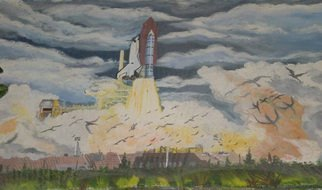 Eve Co: 'Lift Off Challenger', 1992 Acrylic Painting, Space.  Lift Off ChallengerAcrylic on Canvas 48