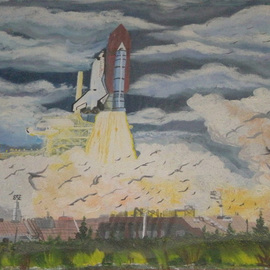 Eve Co Artwork Lift Off Challenger, 1992 Acrylic Painting, Space